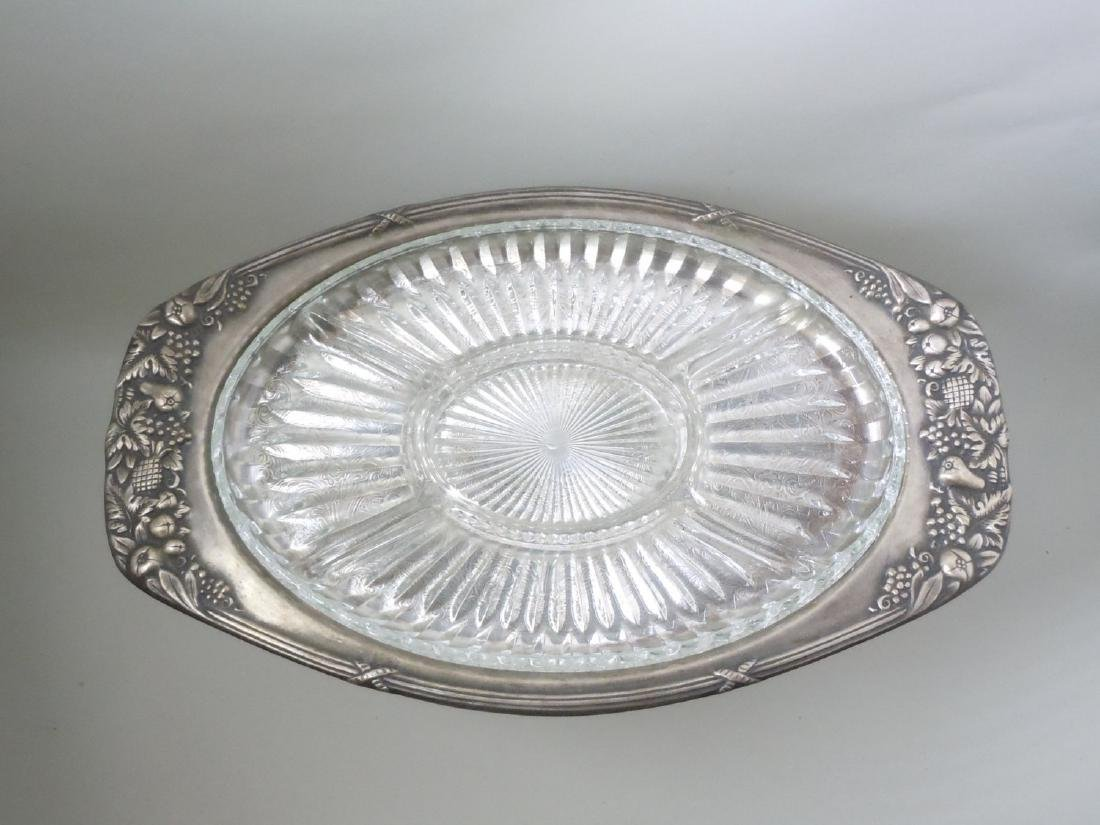 Flower Foliate Sheffield Silver Plate Serving Tray With