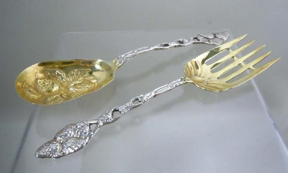Gold Wash Sterling Silver Strawberry Serving Spoon and