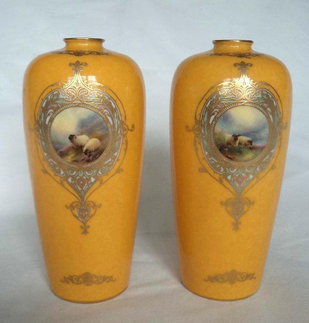 An outstanding rare pair of Porcelain Royal Worcester