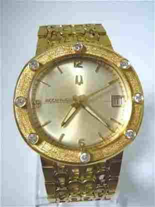 Mens Solid 18kt Gold Diamond Bulova Accutron