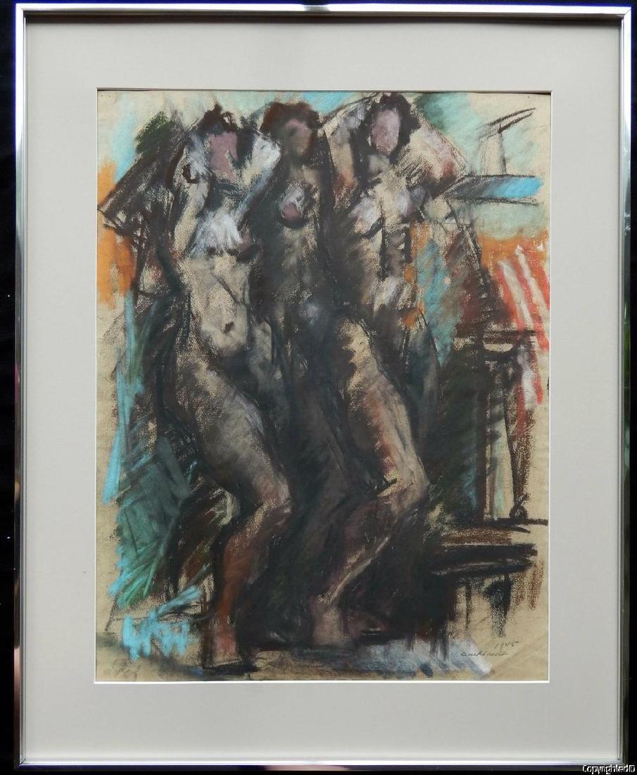 Hans Gustav Burkhardt Dancing Female Nudes Oil Pastel