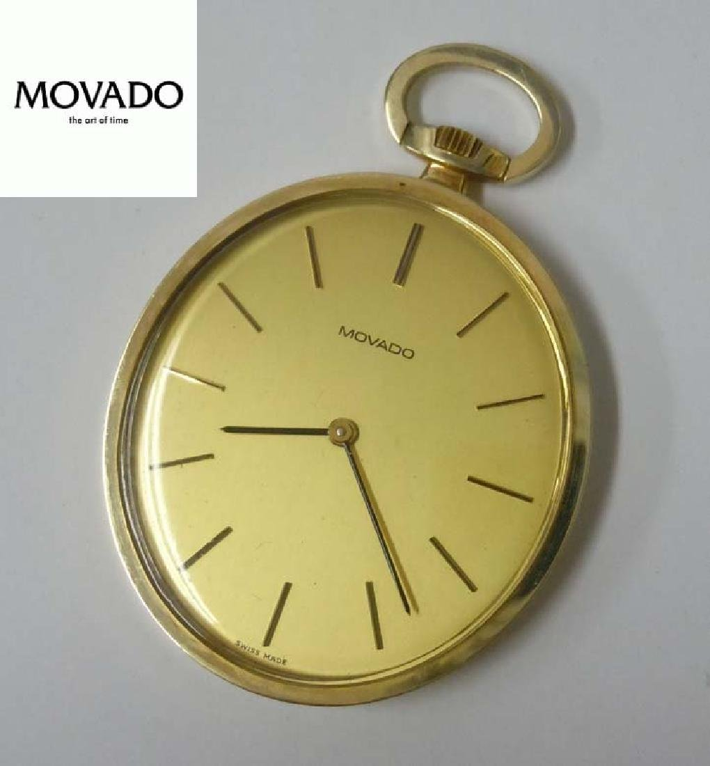 14Kt Gold Movado Champagne Stick Thin Oval Swiss Made