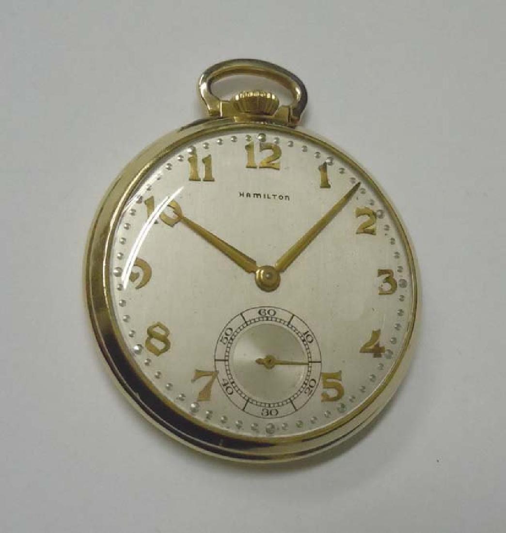 14kt Gold Hamilton 921 Open Face Pocket Watch 21 Jewel,