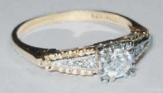 DECO 14KT YELLOW AND WHITE GOLD OLD MINER DIAMOND RING