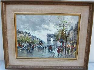 Antoine Blanchard Oil Painting Champs Elysee Arc de