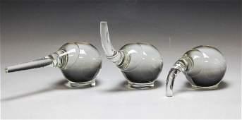 3 Steuben Crystal Art Glass Elephant Figurines By Paul