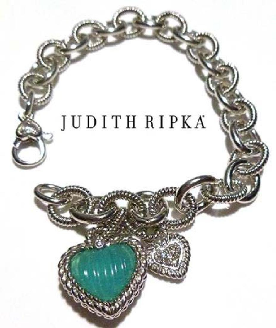 JUDITH RIPKA STERLING SILVER CABLE CHAIN CHARM BRACELET