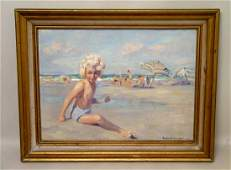 Emile Albert Gruppe Oil Paintings Little Girl Beach
