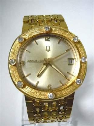 MENS 18KT GOLD DIAMOND 218D BULOVA ACCUTRON WRISTWATCH