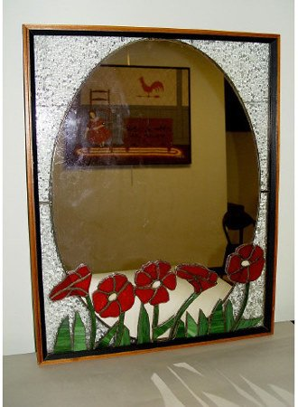 2: Stain & Bubble Glass Flower Wall Mirror