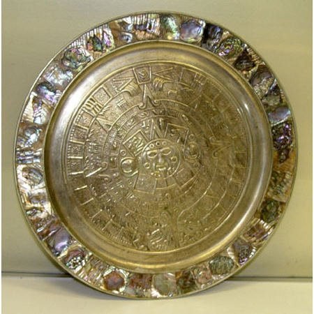 5: Mother Pearl Abalone Aztec Charger Plaque