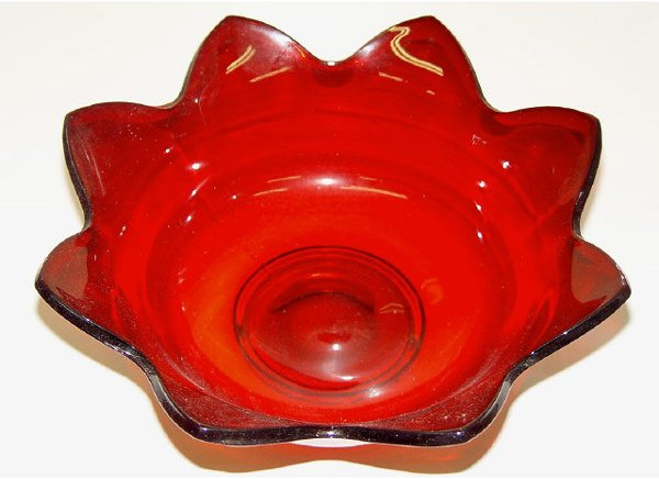 6: Eight Star Cranberry Glass Bowl