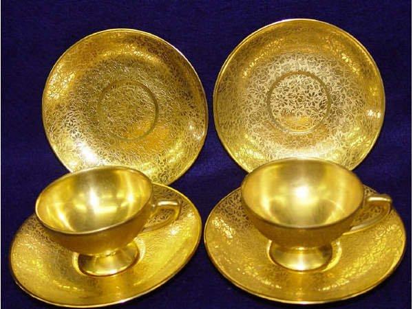 14: Czechoslovakian Gilt Demitasse Cups Saucers