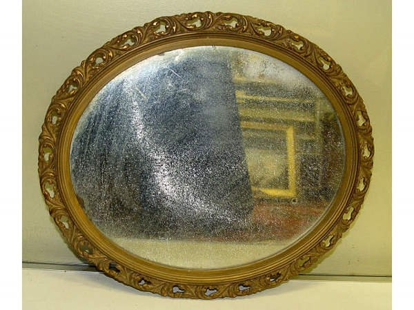 15: Acanthus Leaf Gilt Wood Oval Mirror