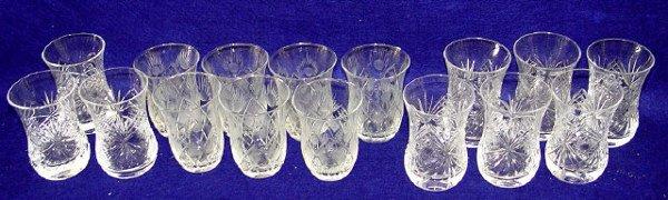 16: Etched & Cut Glass Shot Glass Tumblers