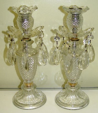 18: Pair Pressed Glass & Crystal Luster Candle Sticks