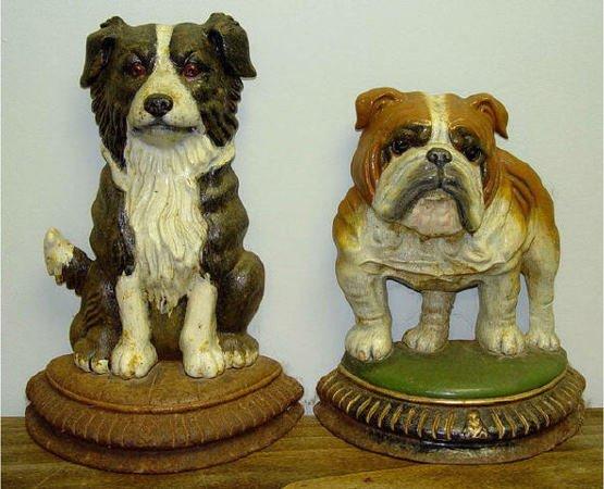 19: Reproduction Cast Iron Bull Dog Puppy Door Stops