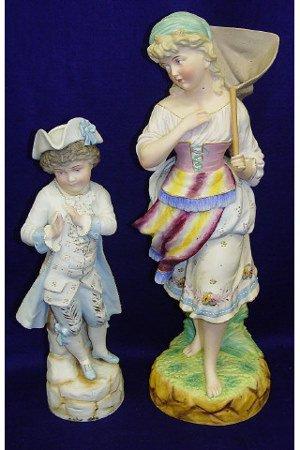 20: Ceramic Blue Boy Butterfly Catcher Girl Figurines