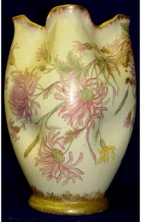 24: Pinched Amphora Floral Porcelain Austrian Vase
