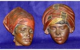 32: Pair Blackamore Plaster Face Mask Black Woman Girl