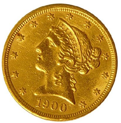 83: 1900 $5 Five Dollar US Gold Liberty 1/2 Eagle Coin