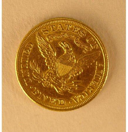 83: 1900 $5 Five Dollar US Gold Liberty 1/2 Eagle Coin - 2
