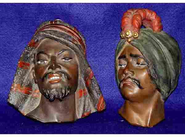 Pair Blackamore Plaster Face Mask Black Woman Girl