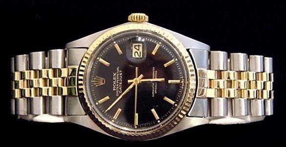 208: 14kt Gold/ss Rolex Datejust Date w/ Black Dial