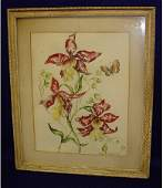 220 Audry Lambert 1949 Floral Watercolor Painting