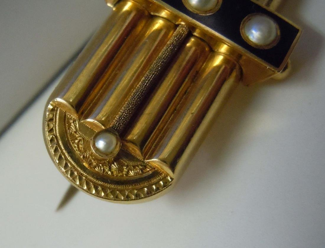 ENGRAVED 14KT GOLD VICTORIAN SEED PEAL ONYX BAR BROOCH - 2