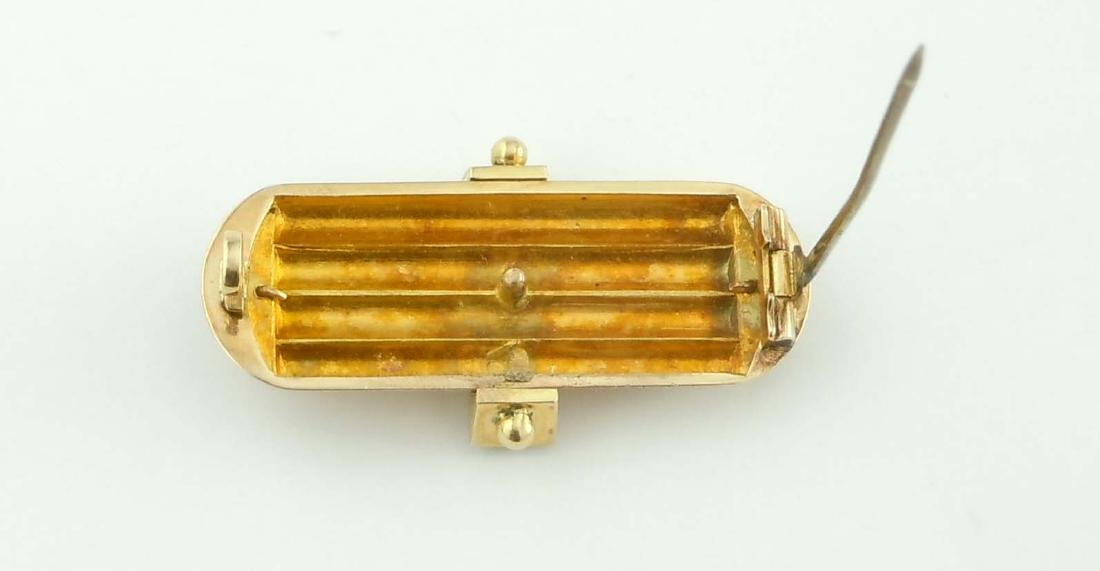 ENGRAVED 14KT GOLD VICTORIAN SEED PEAL ONYX BAR BROOCH - 7