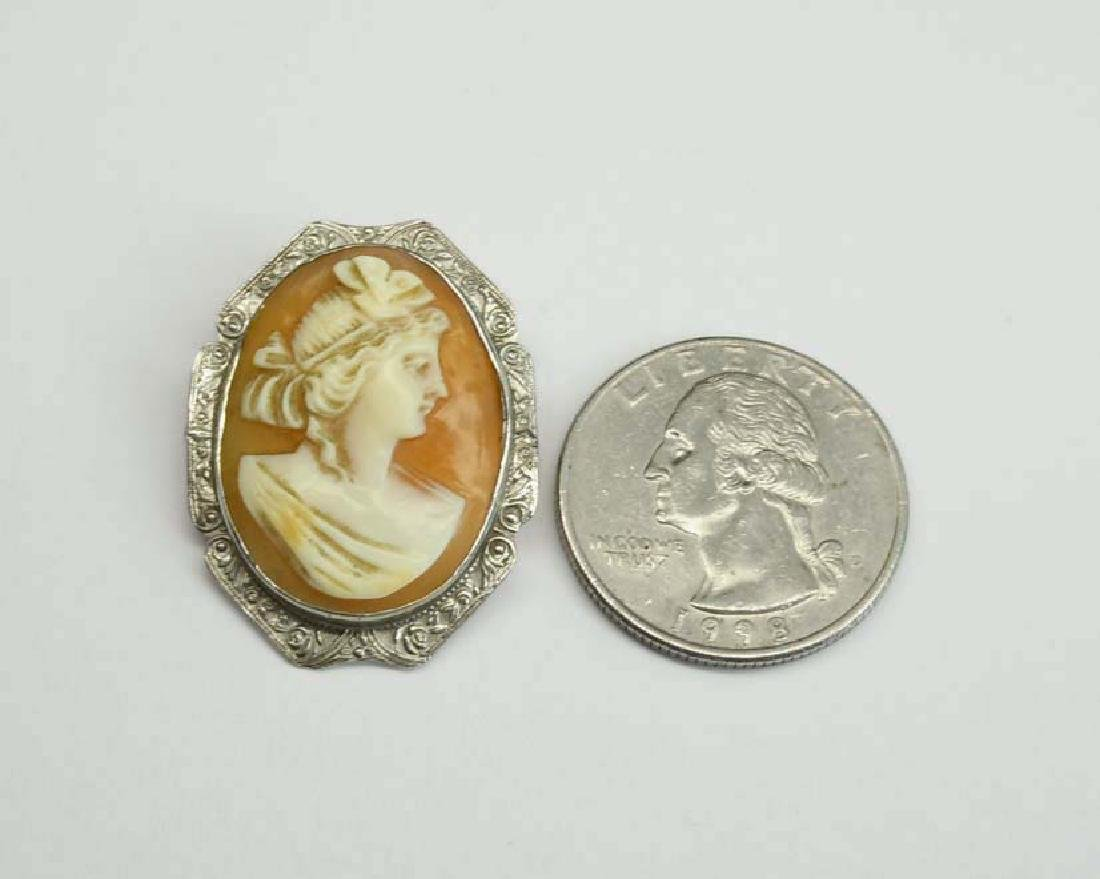 19c VICTORIAN 14K Wt GOLD CARVED FEMALE CAMEO BROOCH An - 3