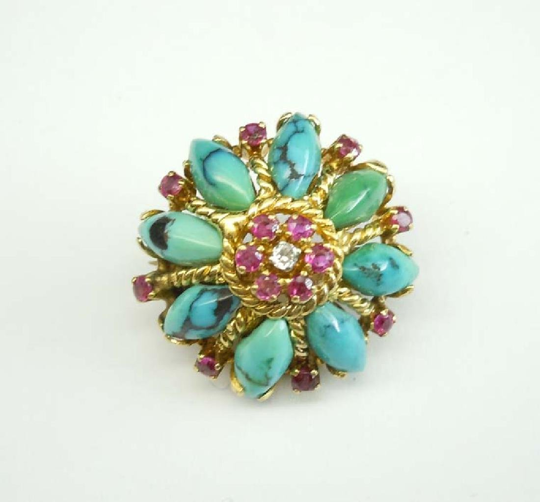 18KT GOLD FLOWER FORM TURQUOISE RUBY DIAMOND BROOCH A