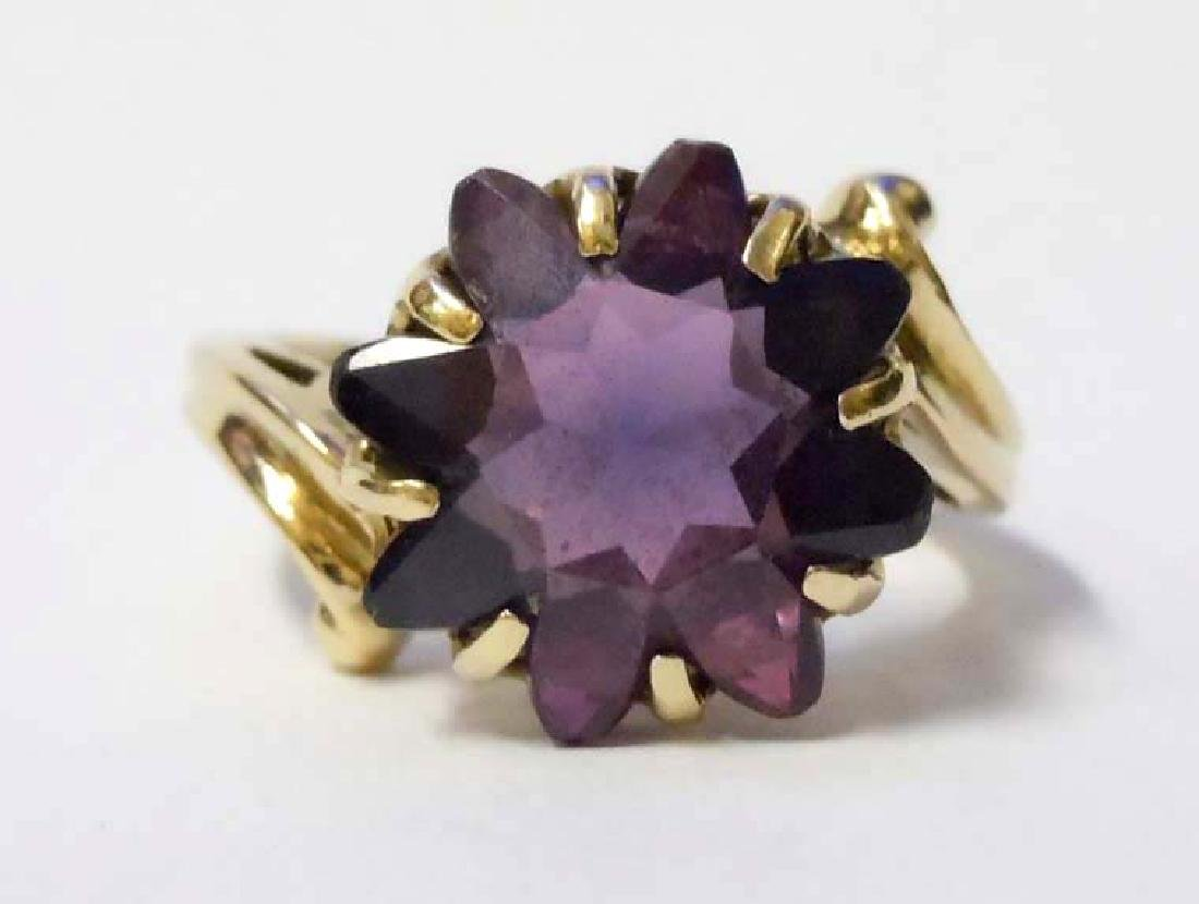 14K GOLD SUN STAR BURST AMETHYST FASHION COCKTAIL RING