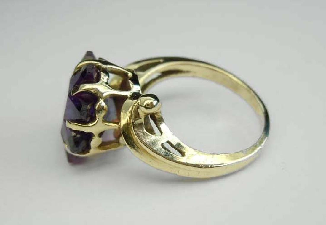 14K GOLD SUN STAR BURST AMETHYST FASHION COCKTAIL RING - 2