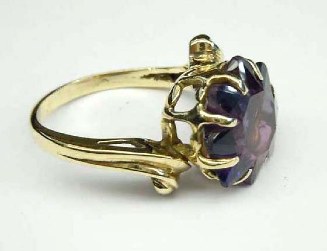 14K GOLD SUN STAR BURST AMETHYST FASHION COCKTAIL RING - 4