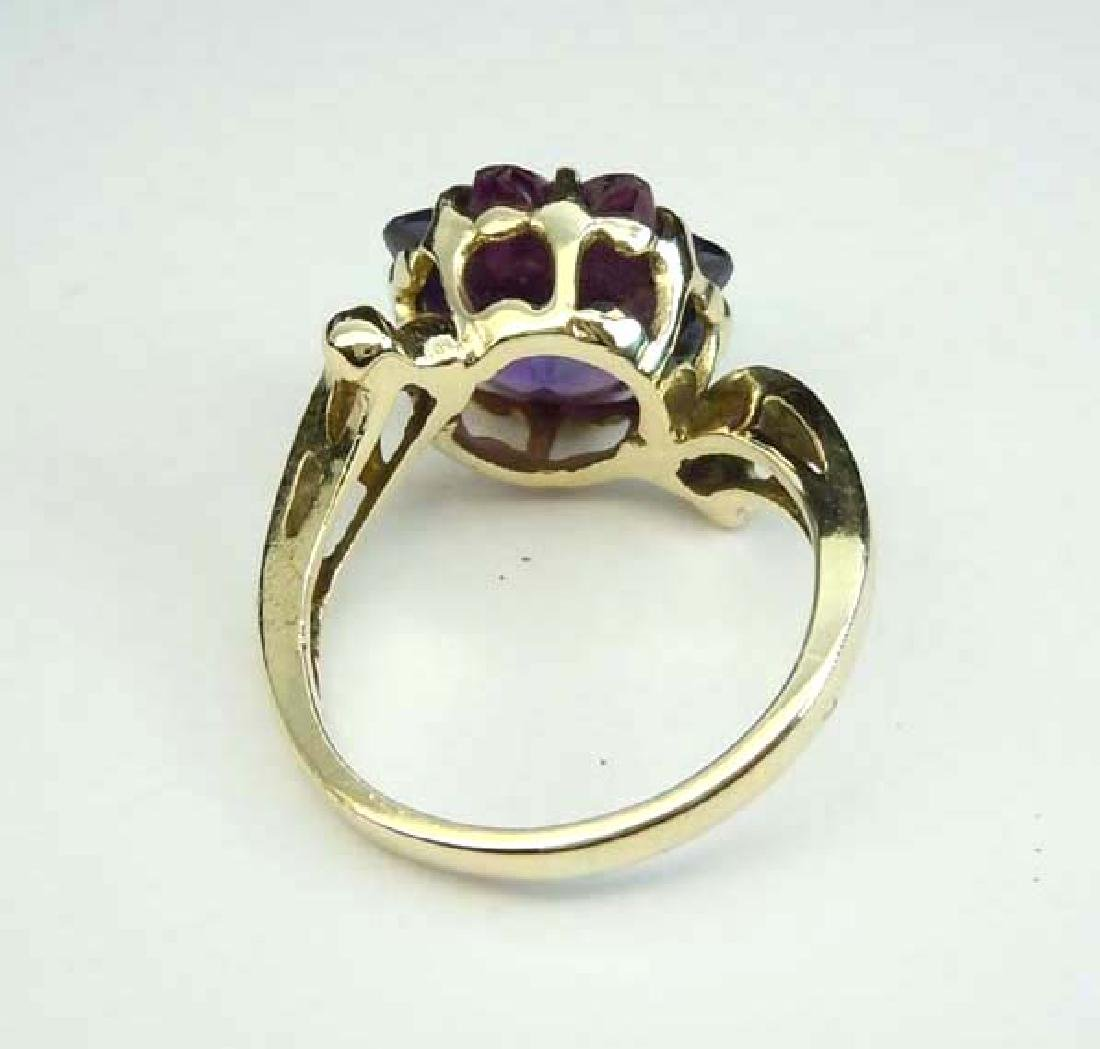 14K GOLD SUN STAR BURST AMETHYST FASHION COCKTAIL RING - 5