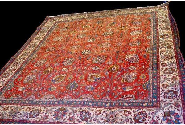 1003: Floral Pattern Tabriz Area Rug Carpet App 11 x 10