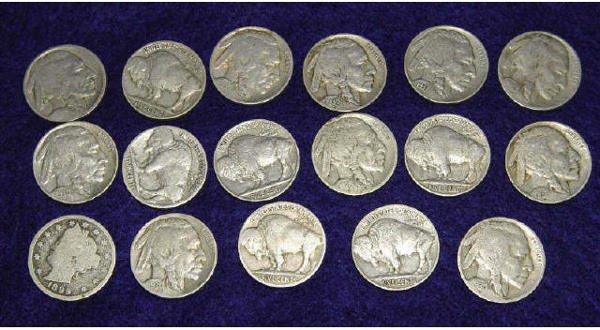"""1004: (16) Buffalo and (1) Liberty """"V"""" Nickels"""