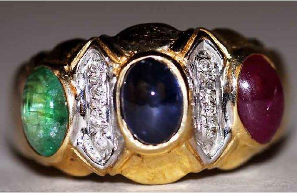 1006: 10kt Gold Emerald Sapphire Ruby Diamond Ring