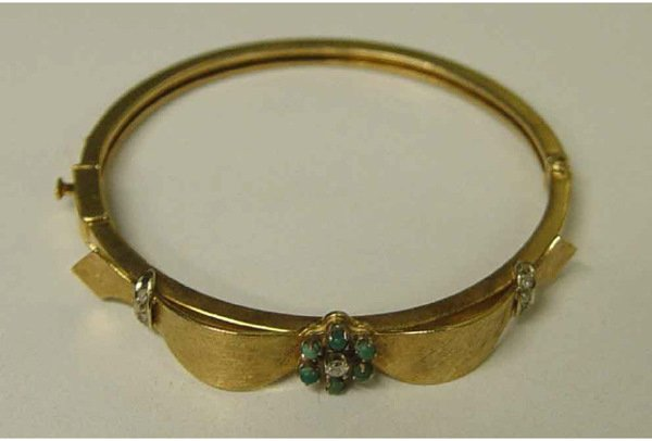 1009: 14k Gold Turquoise Diamond Ribbon Bangle Bracelet