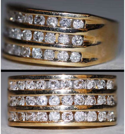 1015: 14kt Gold 1ct Channel Set Diamond Ring