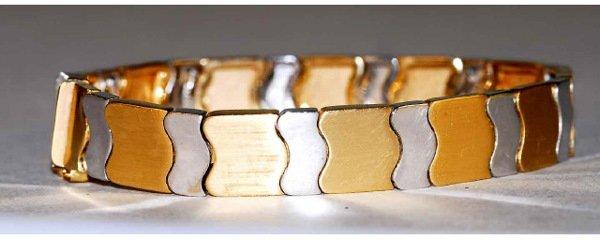 1019: 14kt Gold 2 Tone Deco Modern Bracelet