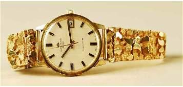 1270 Mens 14k Gold Movado Watch Gold Nugget Band