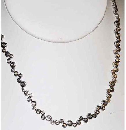 Modern 14kt Gold 2ct Diamond Necklace