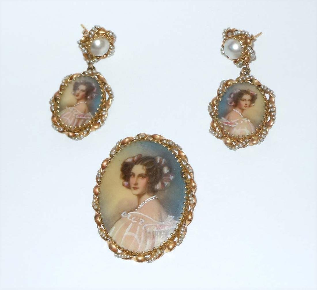 14KT GOLD SEED PEARL CAMEO PEDANT BROOCH EARRING SUITE
