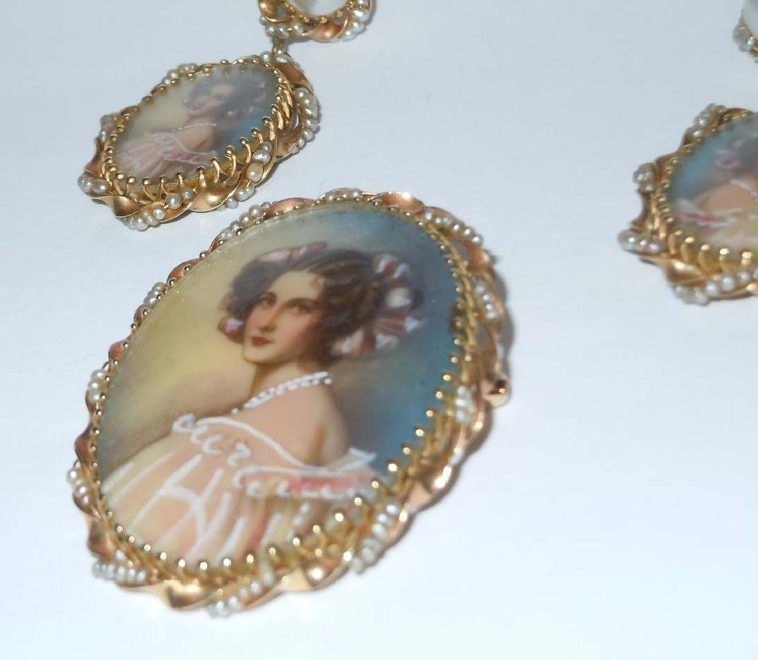 14KT GOLD SEED PEARL CAMEO PEDANT BROOCH EARRING SUITE - 2
