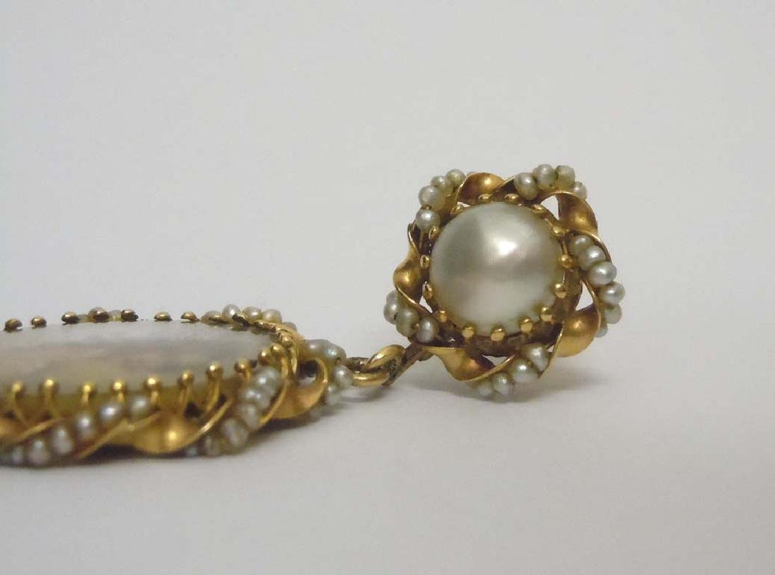 14KT GOLD SEED PEARL CAMEO PEDANT BROOCH EARRING SUITE - 6