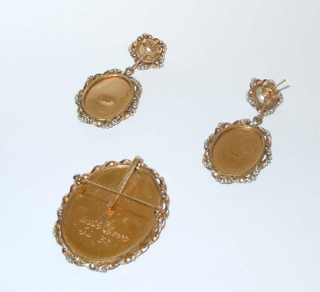 14KT GOLD SEED PEARL CAMEO PEDANT BROOCH EARRING SUITE - 8