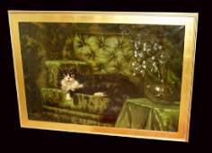 CARL KAHLER OIL PAINTING LONG HAIRED ANGORA CAT on SOFA